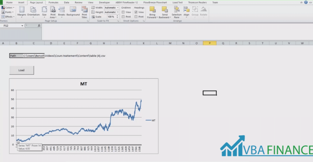 Manipulate Large Quantities of Financial Data in Excel VBA screen one